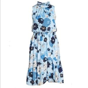Vince Camuto floral ruffle neck blouson dress NWT